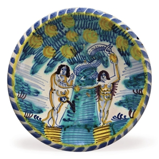Delftware charger, London, c. 1680